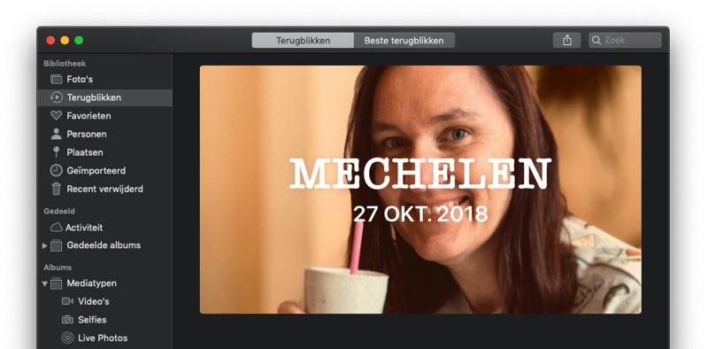 Terugblikken in de Mac Foto's-app