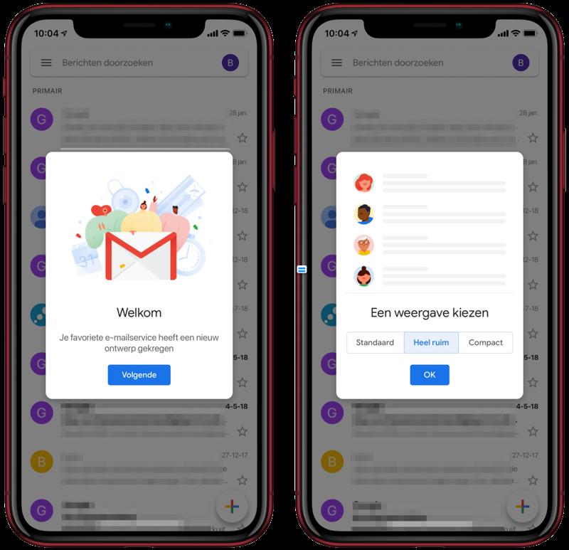 Nieuw ontwerp voor Gmail.