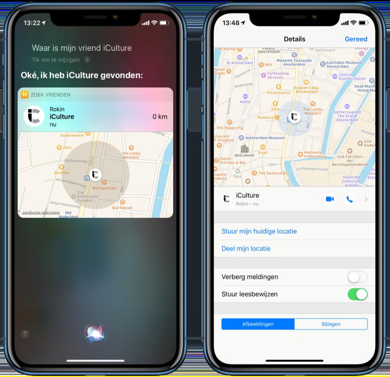 Siri en iMessage met Zoek mijn Vrienden.