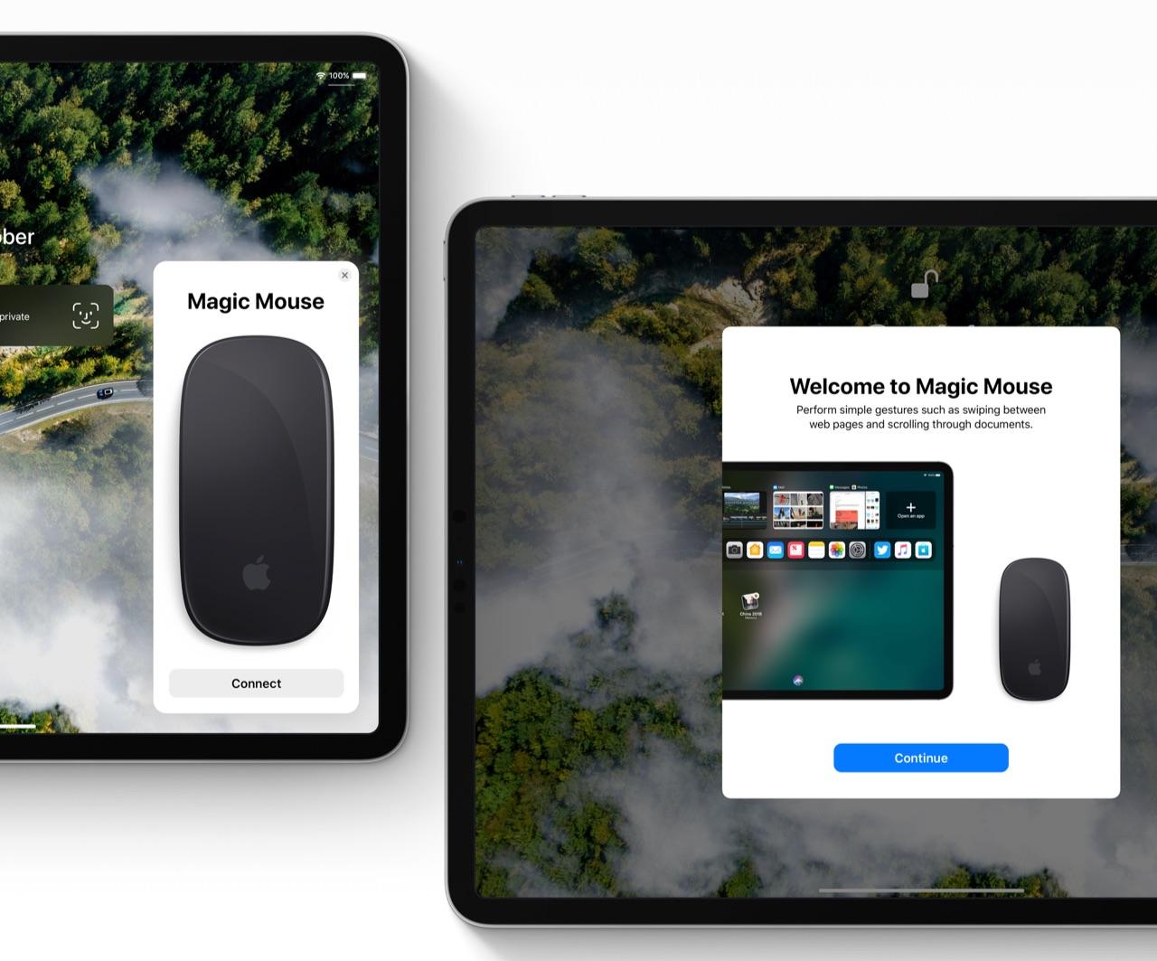 iOS 13-concept met muis op een iPad.