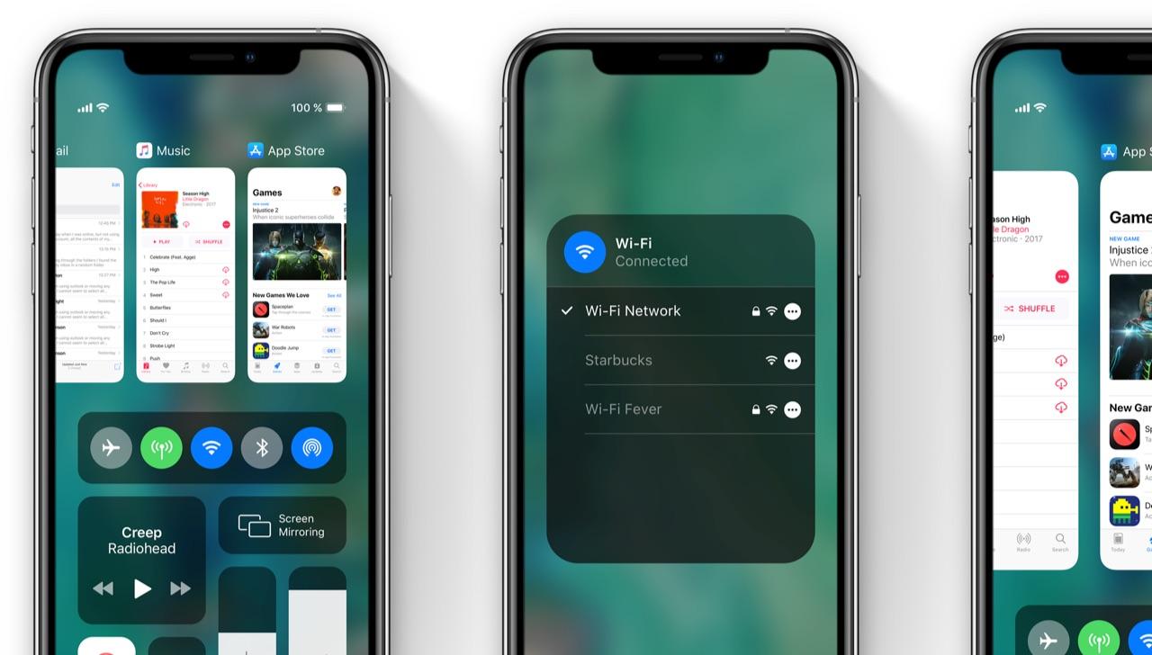 iOS 13-concept met gecombineerde appkiezer en Bedieningspaneel.