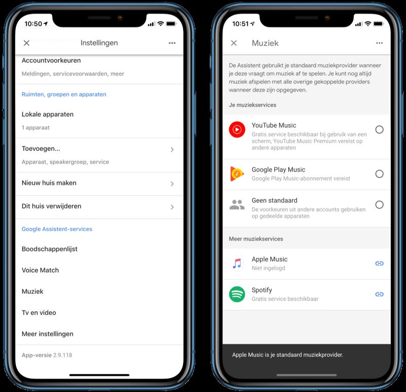 Apple Music-instelling in Google Home-app.