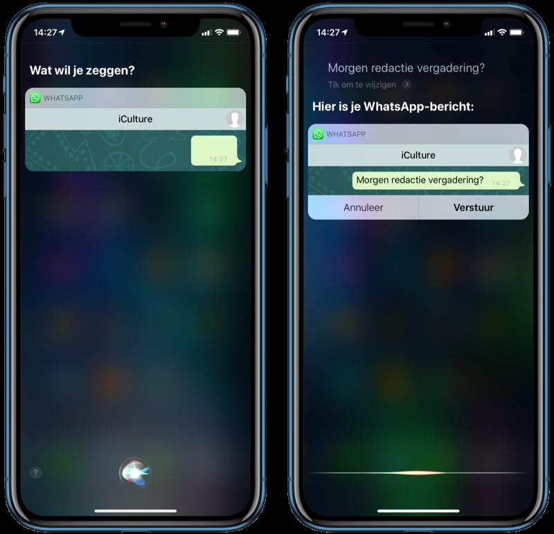Een WhatsApp-bericht sturen met Siri.