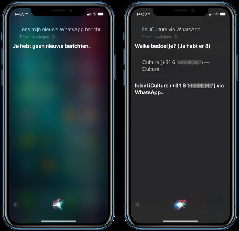 WhatsApp-berichten voorlezen en bellen met Siri.