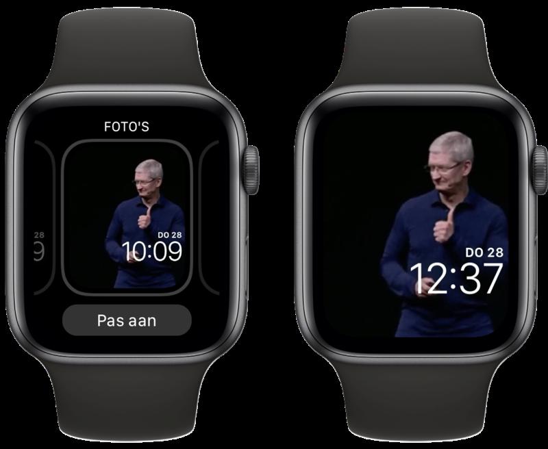Gif op Apple Watch-wijzerplaat.