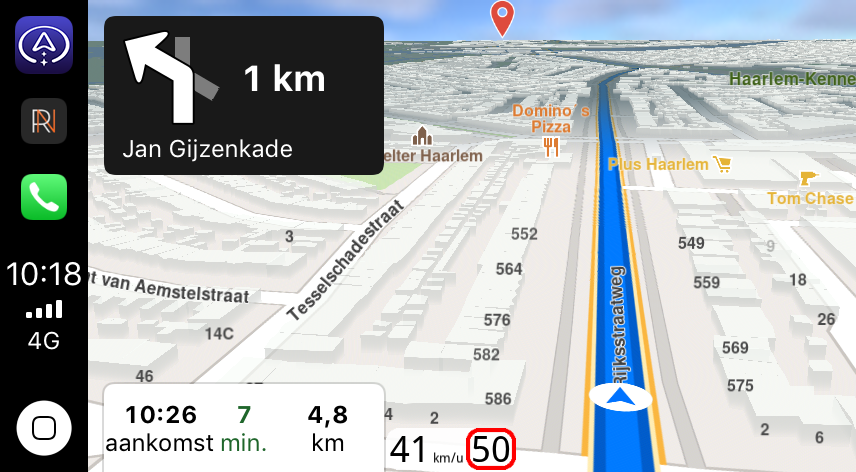 Navigeren met Magic Earth in CarPlay.
