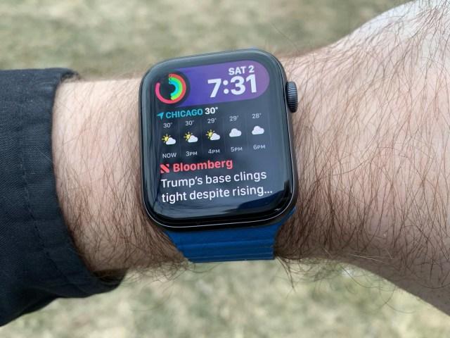watchOS 6 concept met Siri-wijzerplaat.