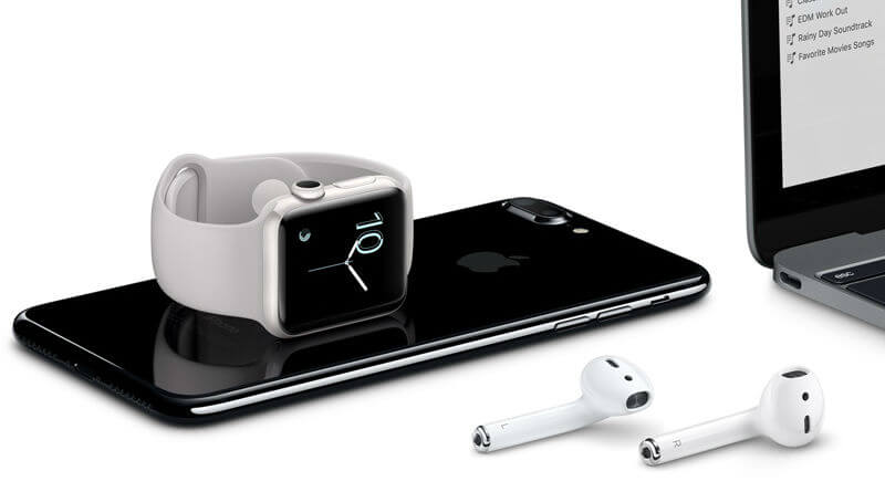 AirPods met iPhone en Apple Watch
