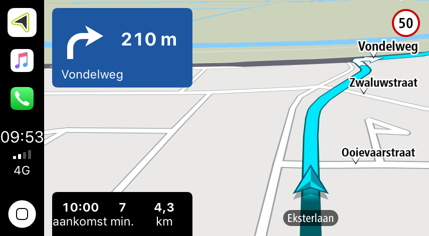 Instructie in TomTom CarPlay.