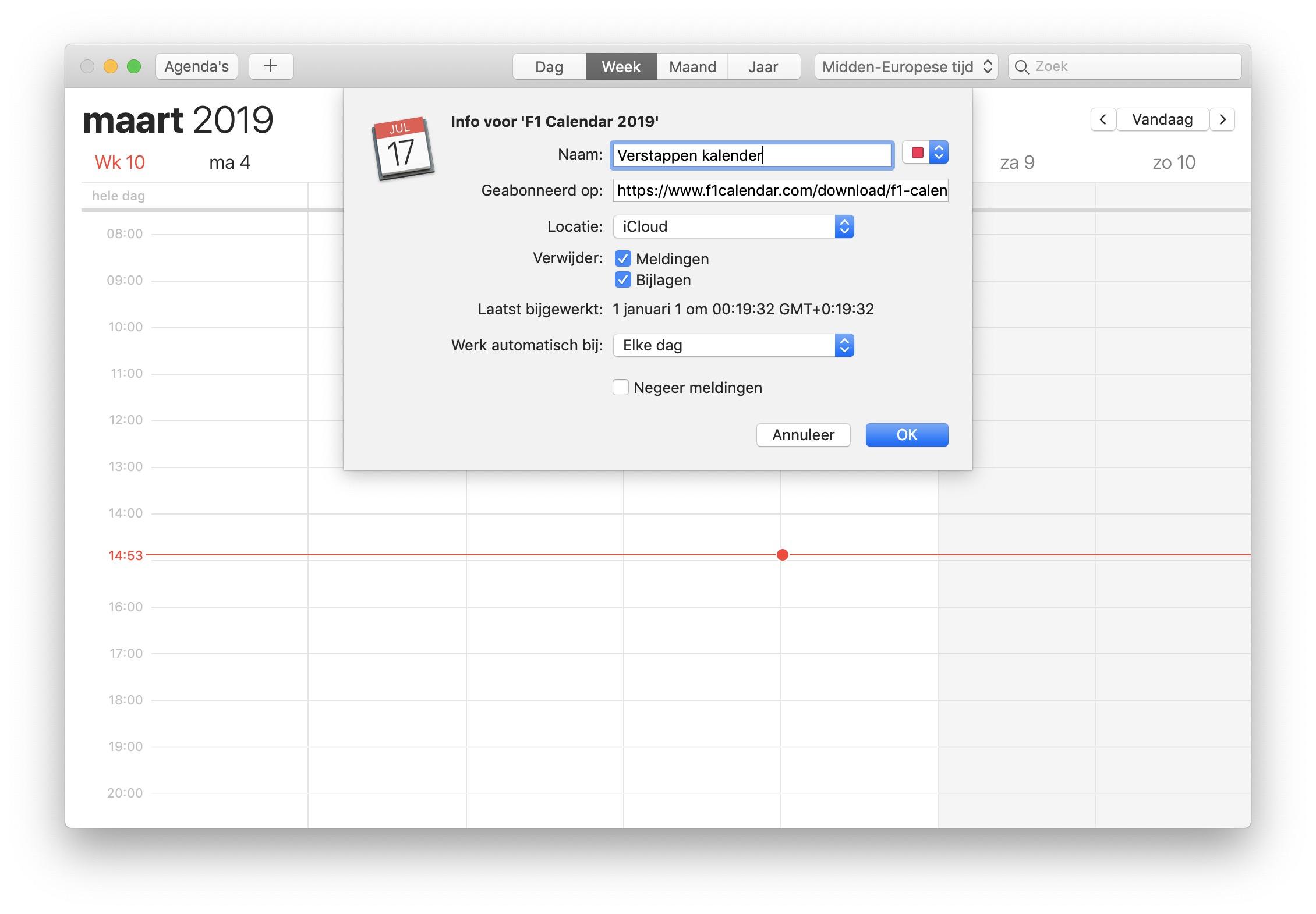Formule 1-kalender Mac