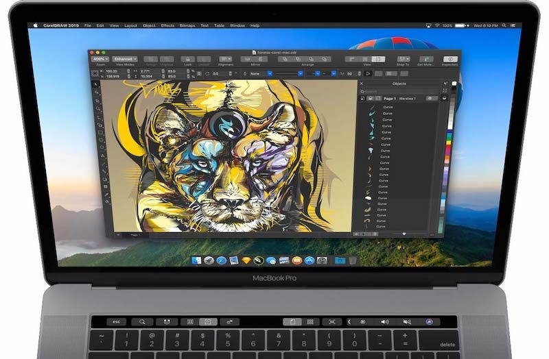 CorelDRAW 2019 op een MacBook
