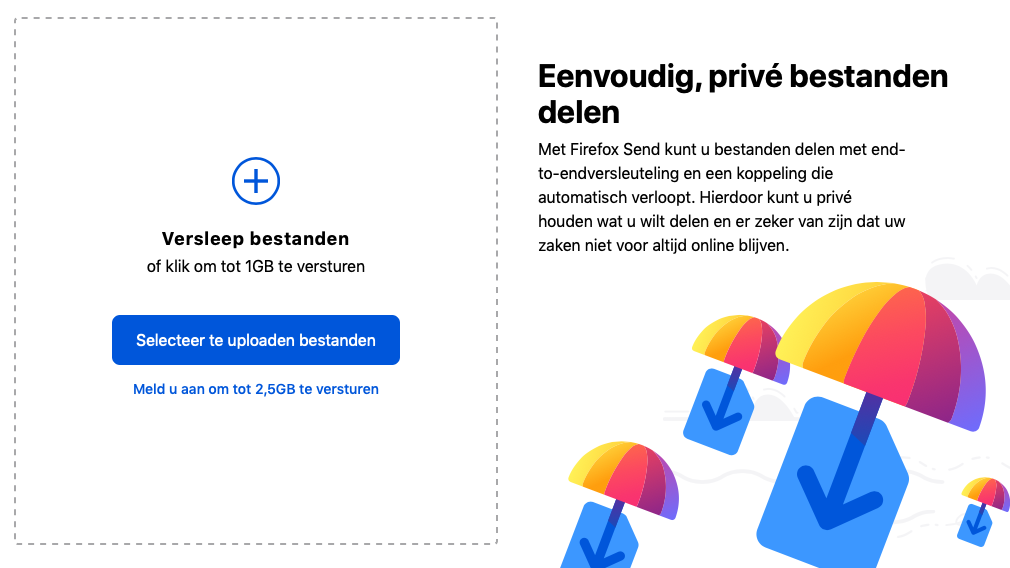 Firefox Send webinterface