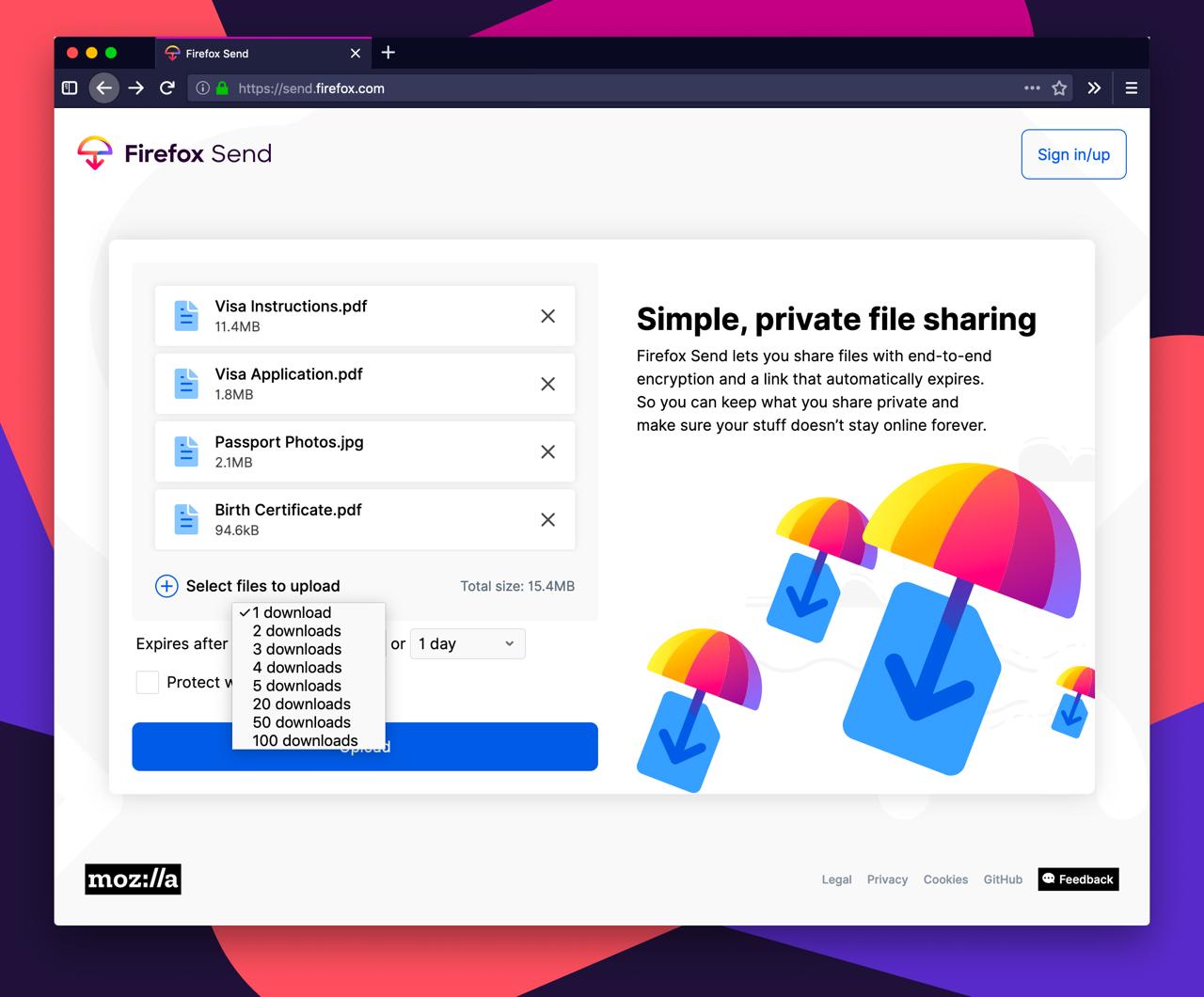 Firefox Send voorbeeld