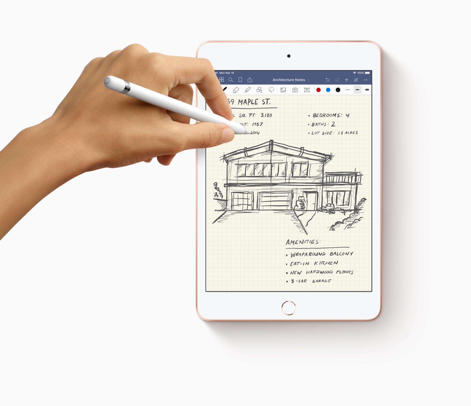Schrijven op de iPad mini 2019.