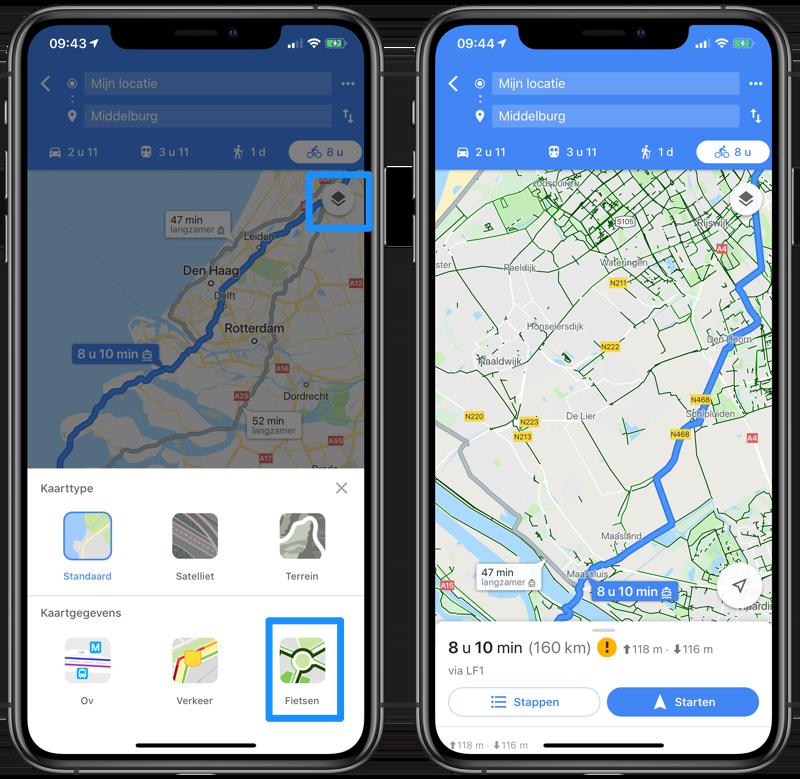 Google Maps fietsroutes en fietsweergave