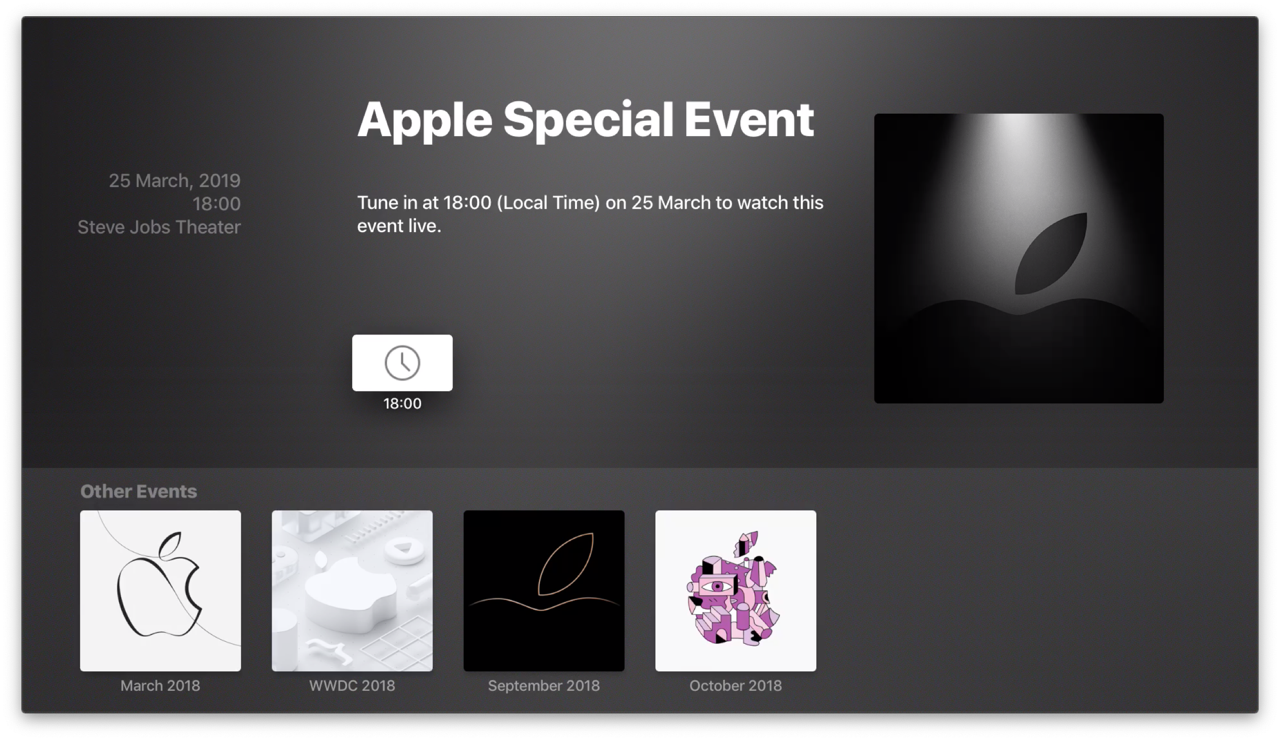 Apple Events-app voor maart 2019.