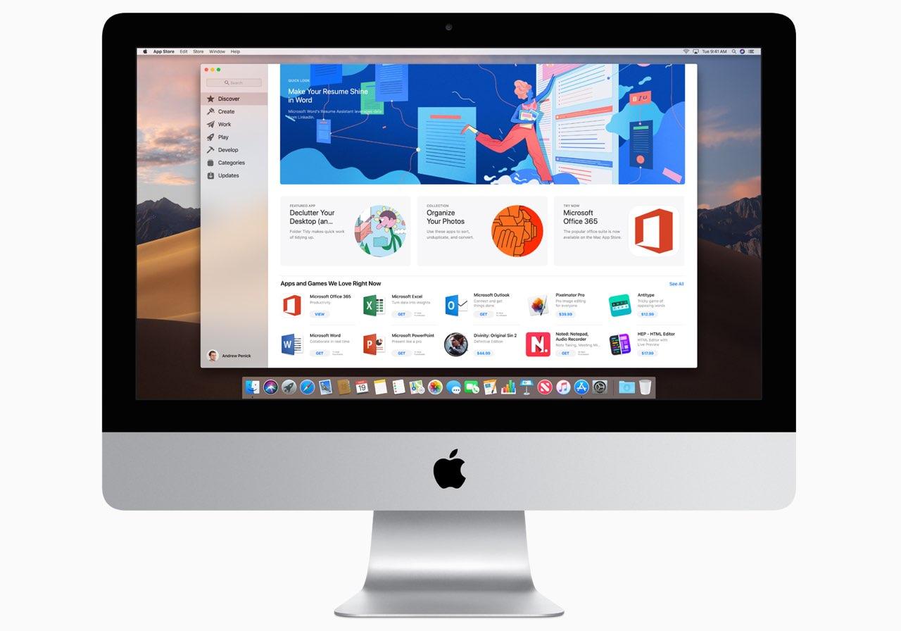 iMac 2019 met Mac App Store.