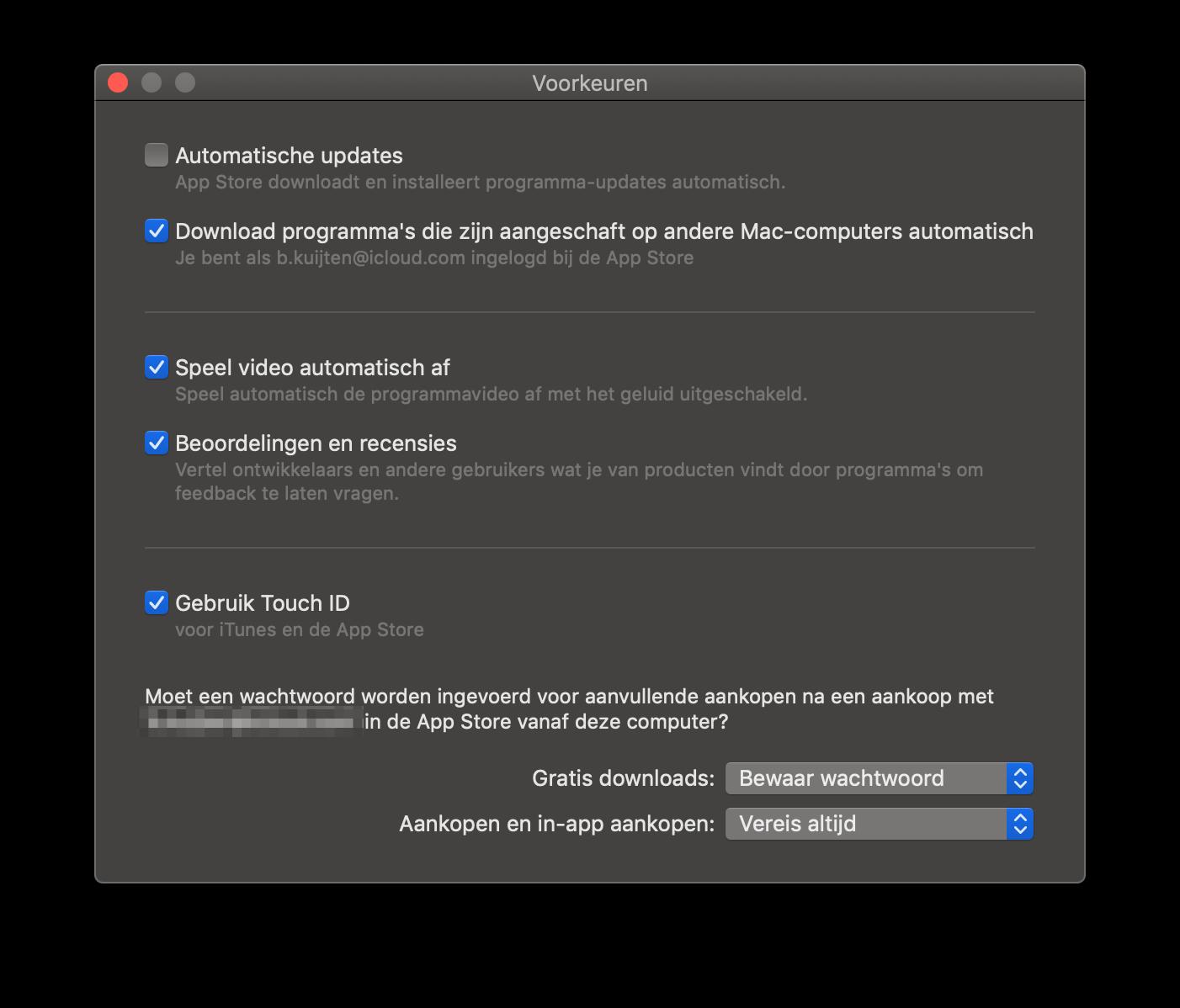 Mac App Store voorkeuren voor automatische downloads.