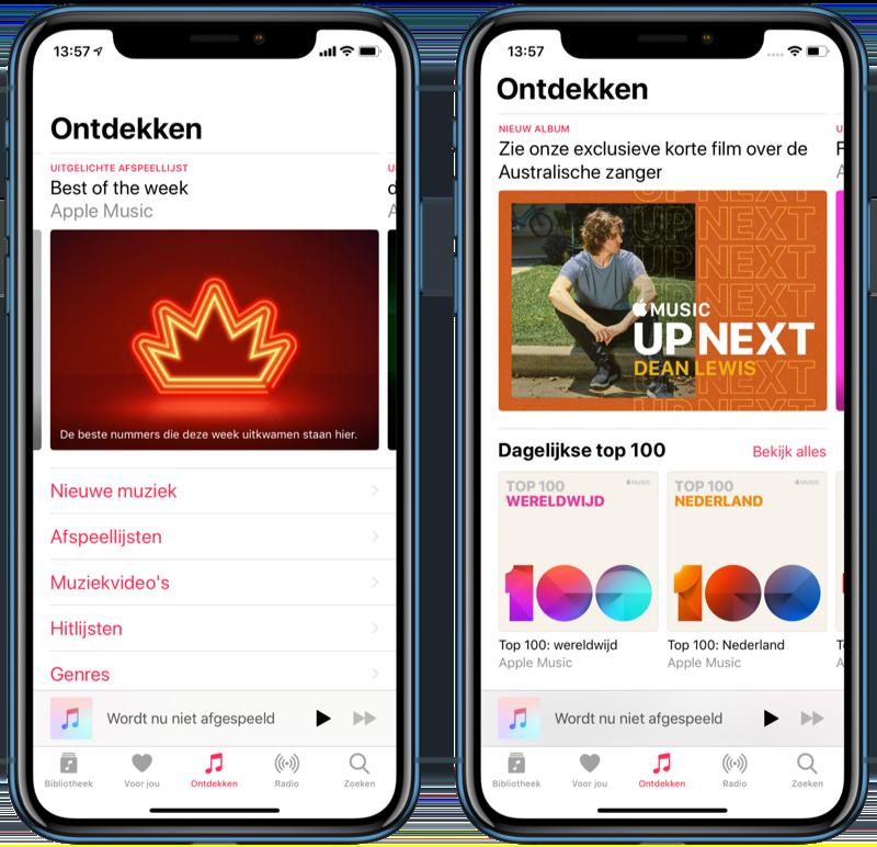 Apple Music Ontdekken-tabblad vernieuwd.