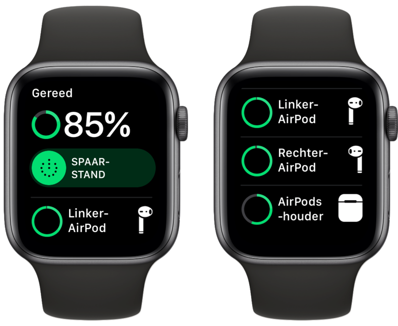 AirPods batterijstatus via Apple Watch.