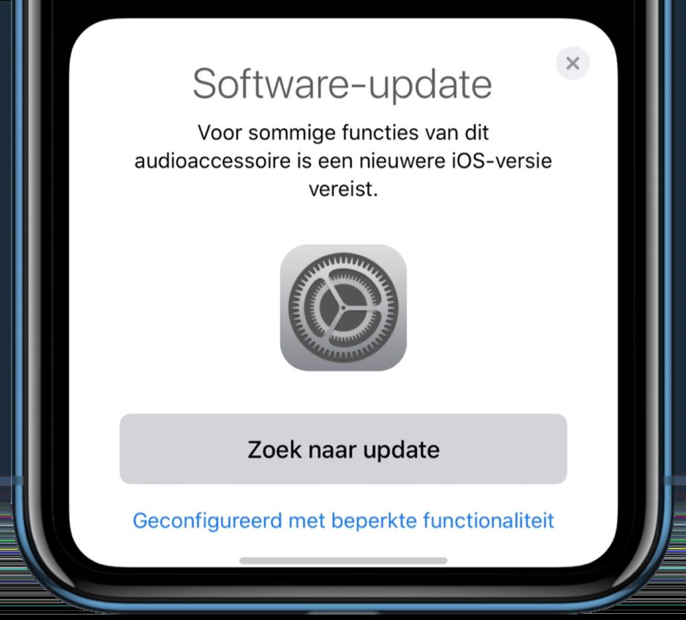 AirPods software-update vereist voor alle functies.