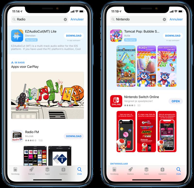 Nederlandse reclame in de App Store.