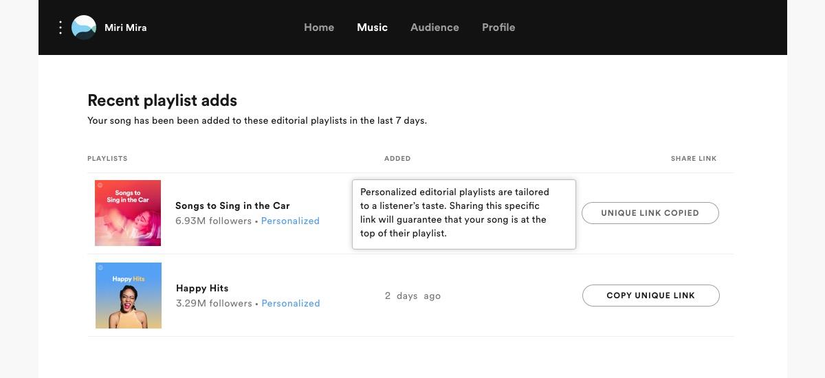 Spotify persoonlijke afspeellijsten