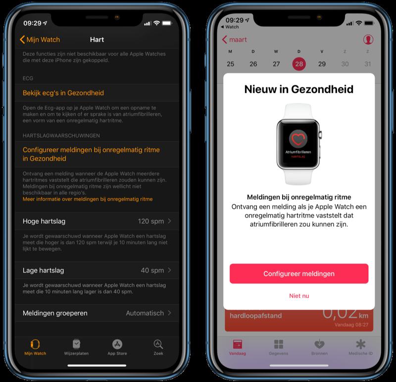 Melding voor onregelmatig ritme op Apple Watch instellen.
