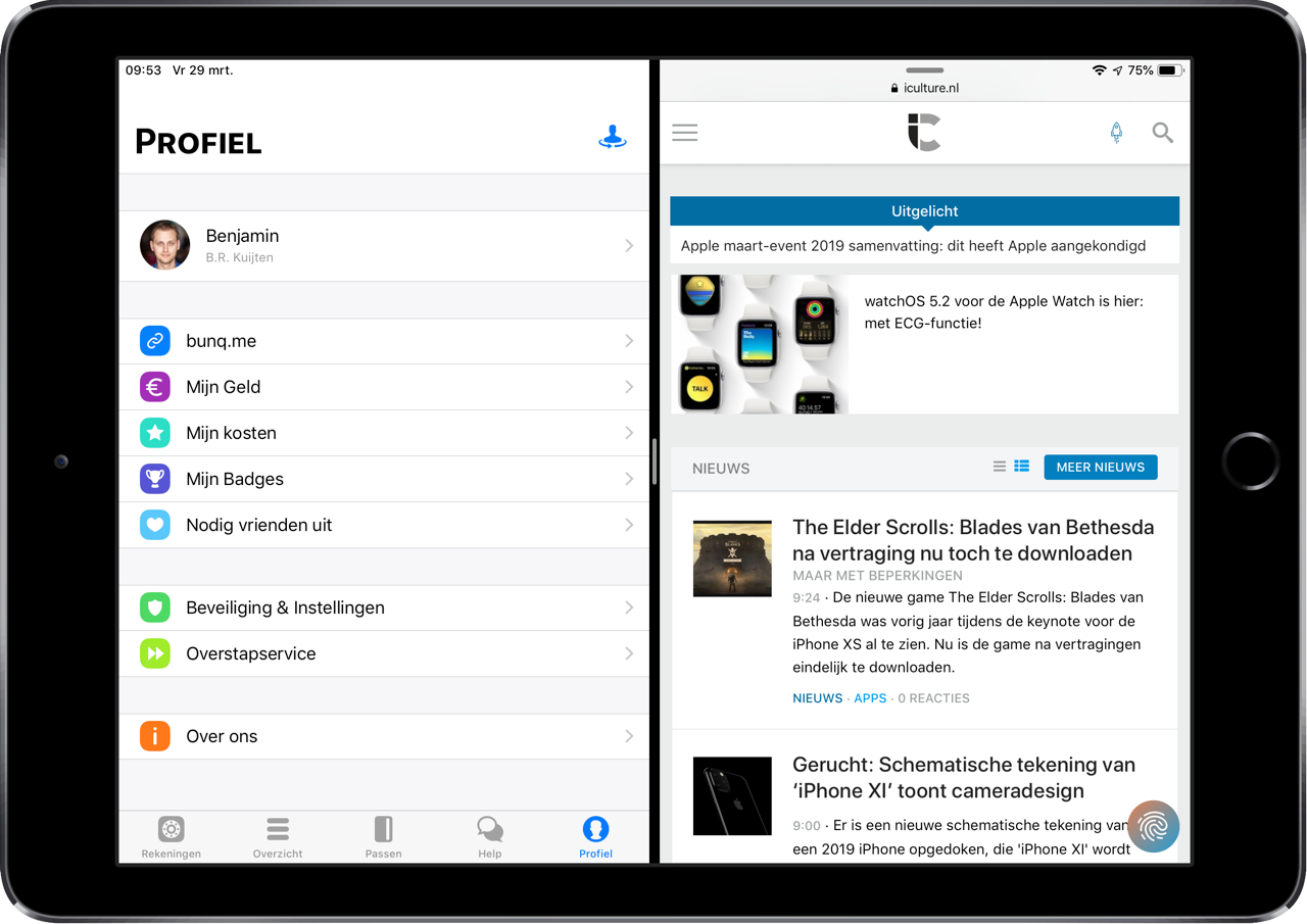 bunq op iPad met Split View.