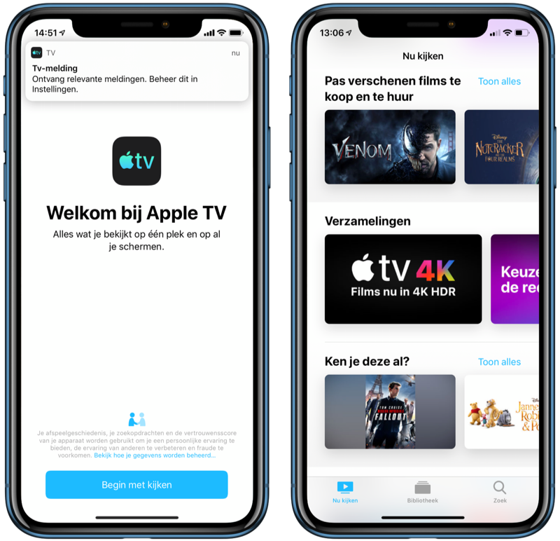 TV-app op iPhone met filmoverzicht.