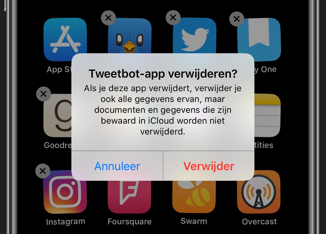 App verwijderen en data wissen
