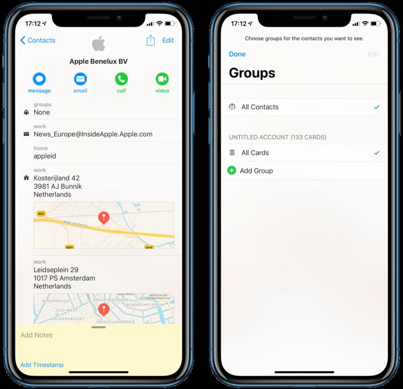 Contact en groepen in Cardhop voor iOS.