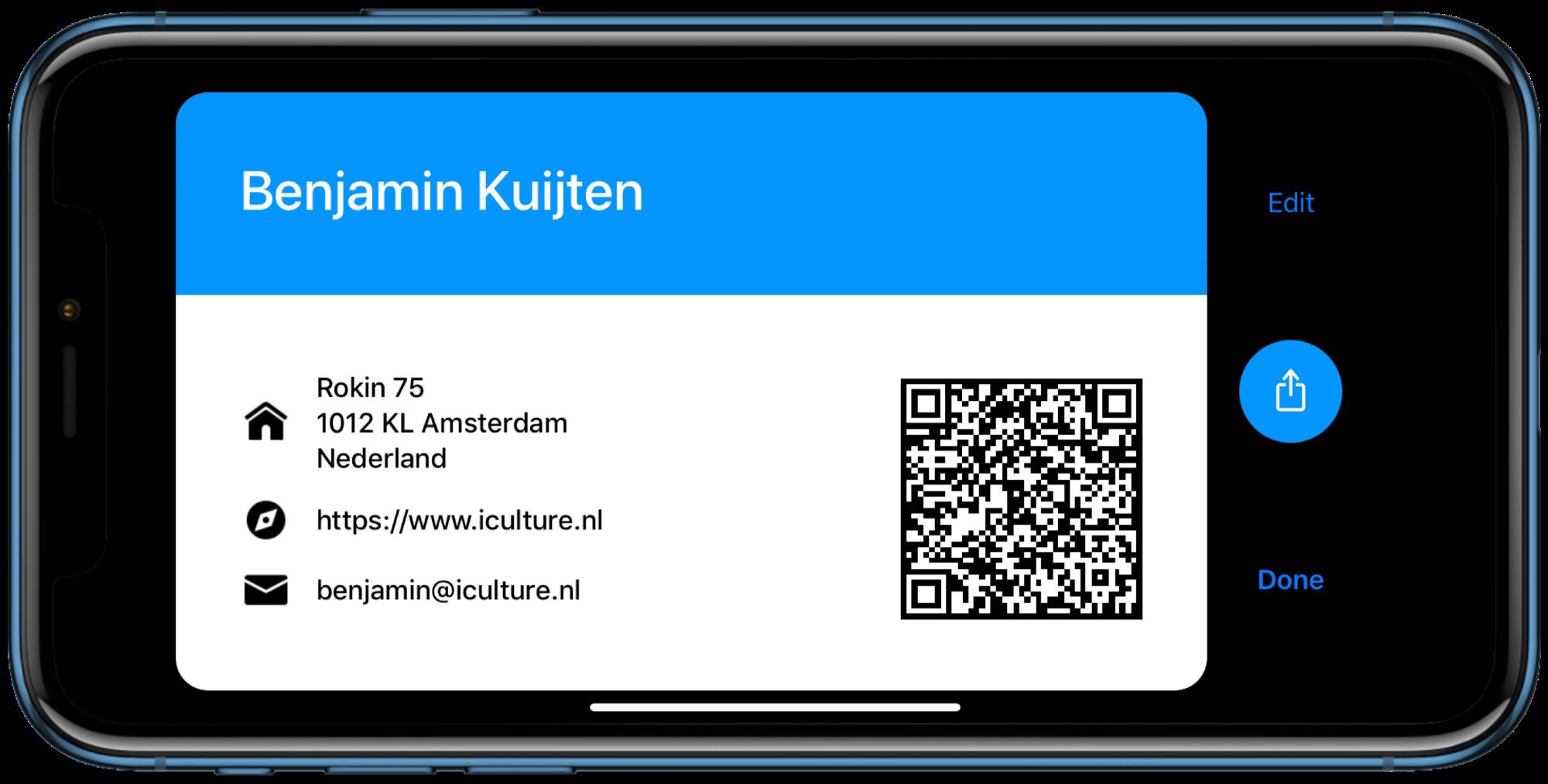 Visitekaartje in Cardhop voor iOS.