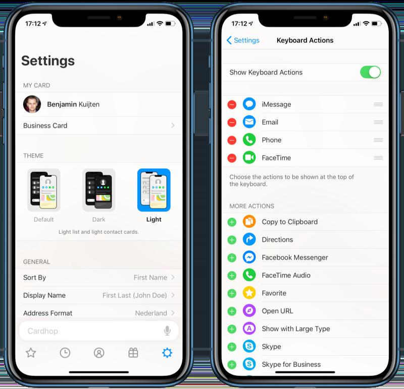 Cardhop voor iOS aanpassen.