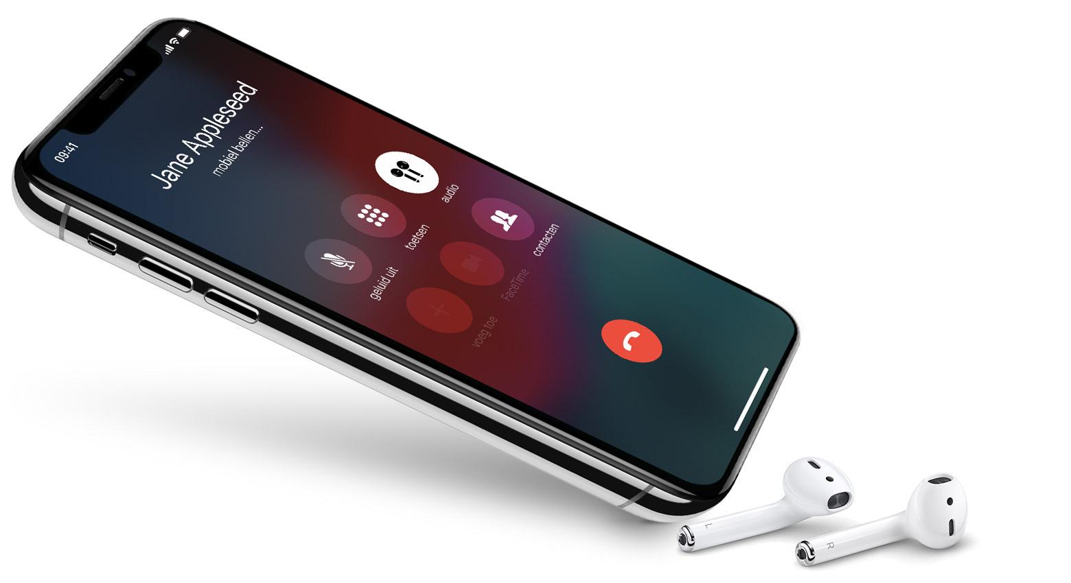 Bellen met iPhone en AirPods.
