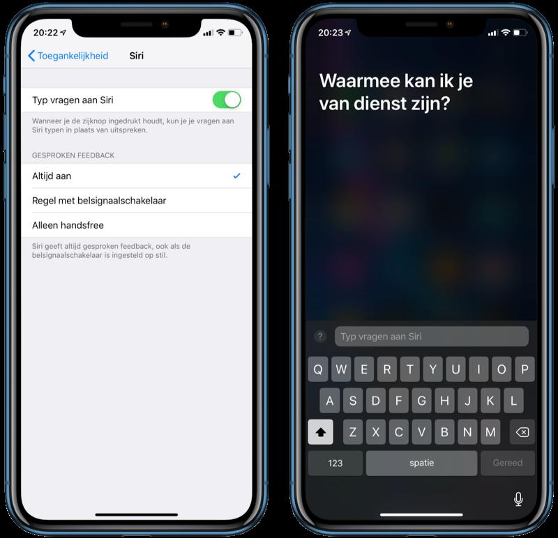 Siri vragen typen op iPhone.