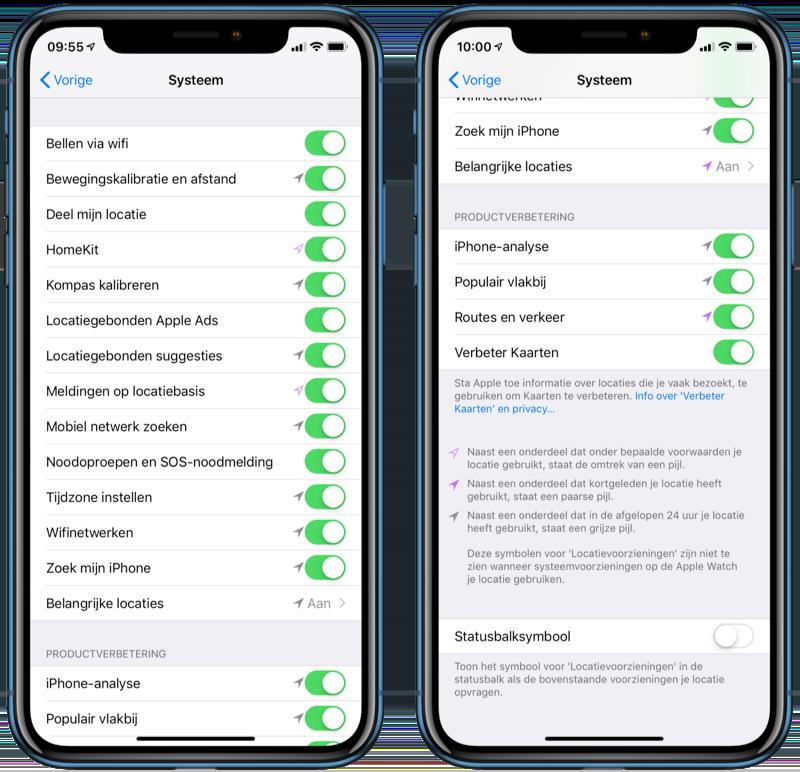Instellingen locatievoorzieningen systeem in iOS.