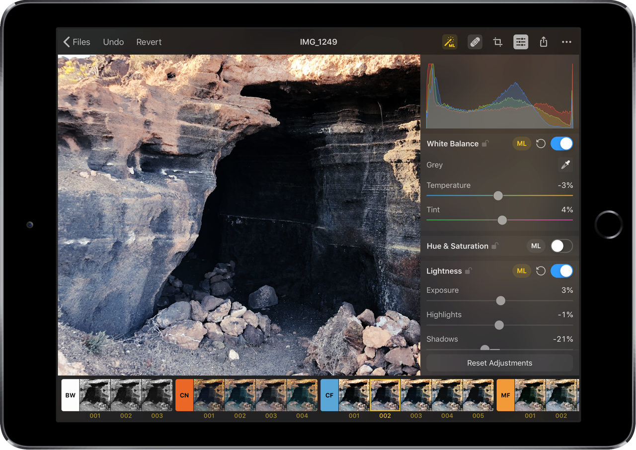 Pixelmator Photo Repair-tool en filters toepassen.