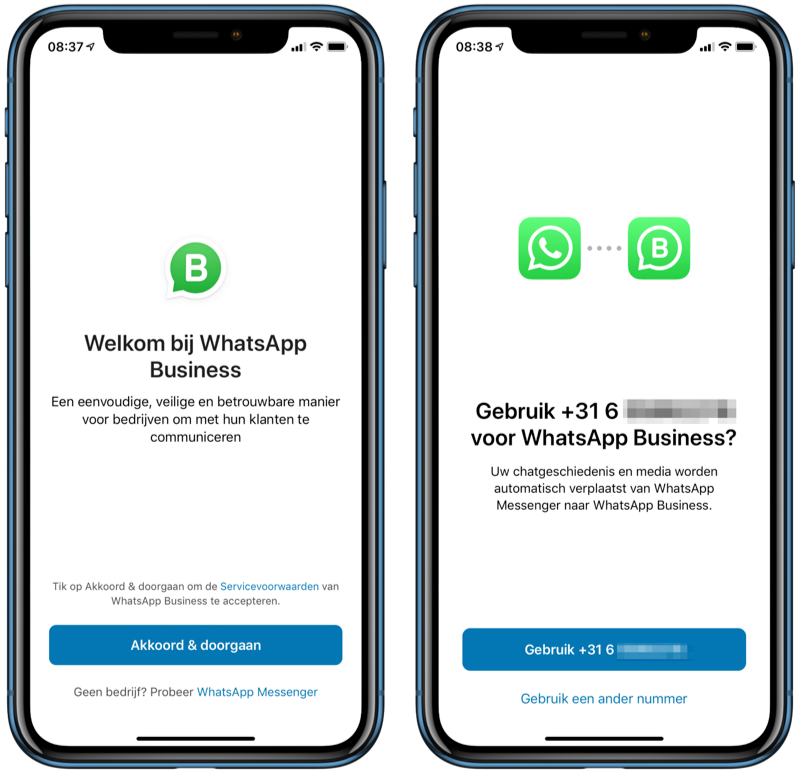 WhatsApp Business instellen.