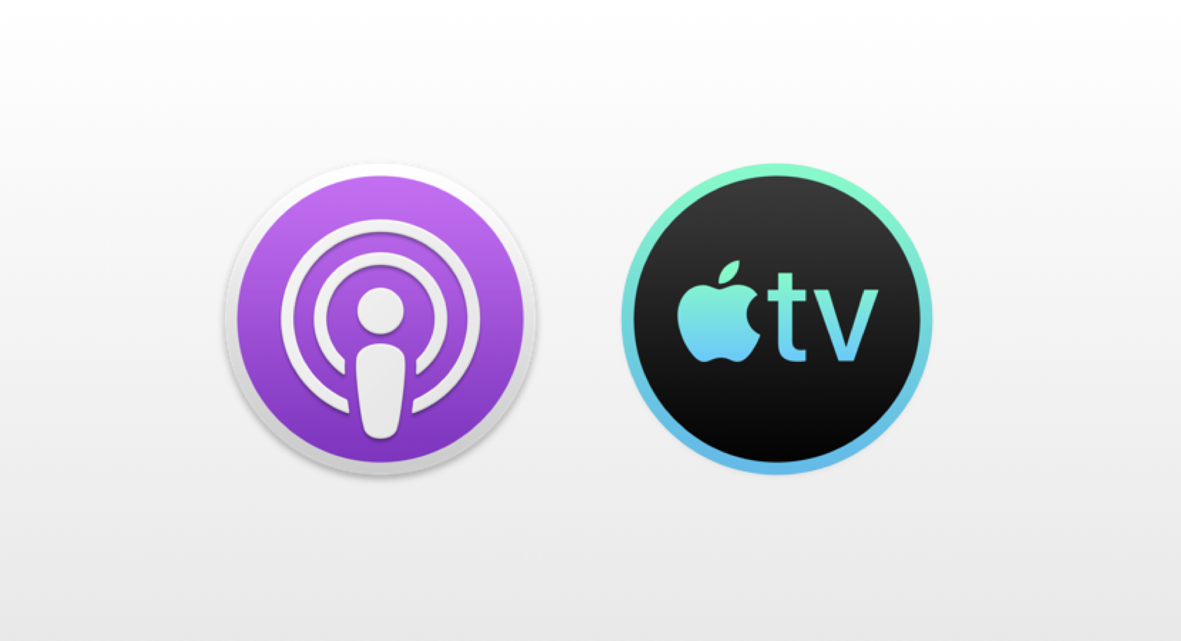 Podcasts en TV-app icoontjes in macOS 10.15.