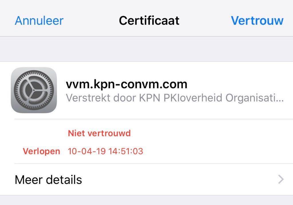 KPN verlopen certificaat melding.