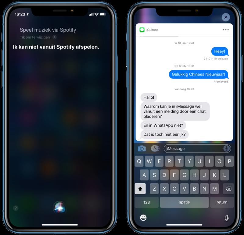 Siri kan niet met Spotify en iMessage is enige chatapp met uitgebreide meldingen.