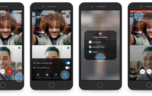 Skype schermdeling in de app.