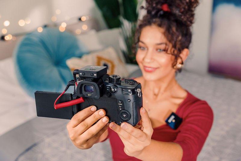 Rode Wireless Go op camera gemonteerd