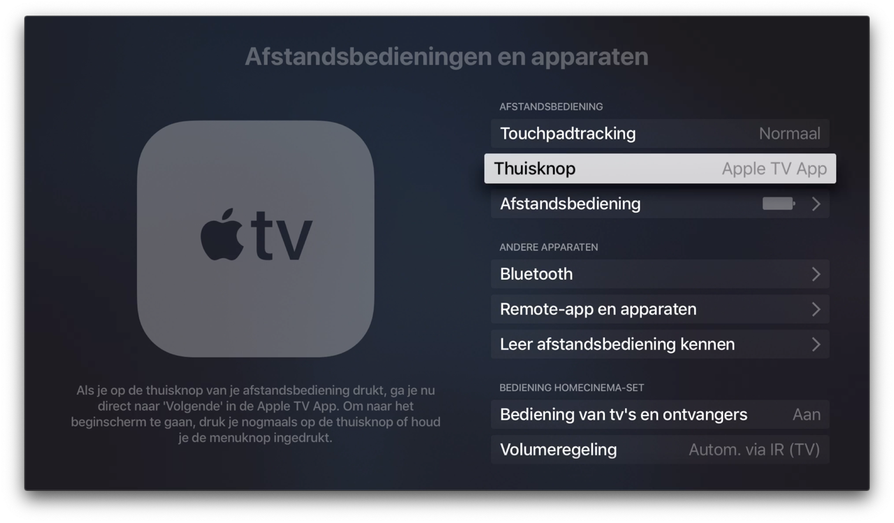 Apple TV-thuisknop instellen.