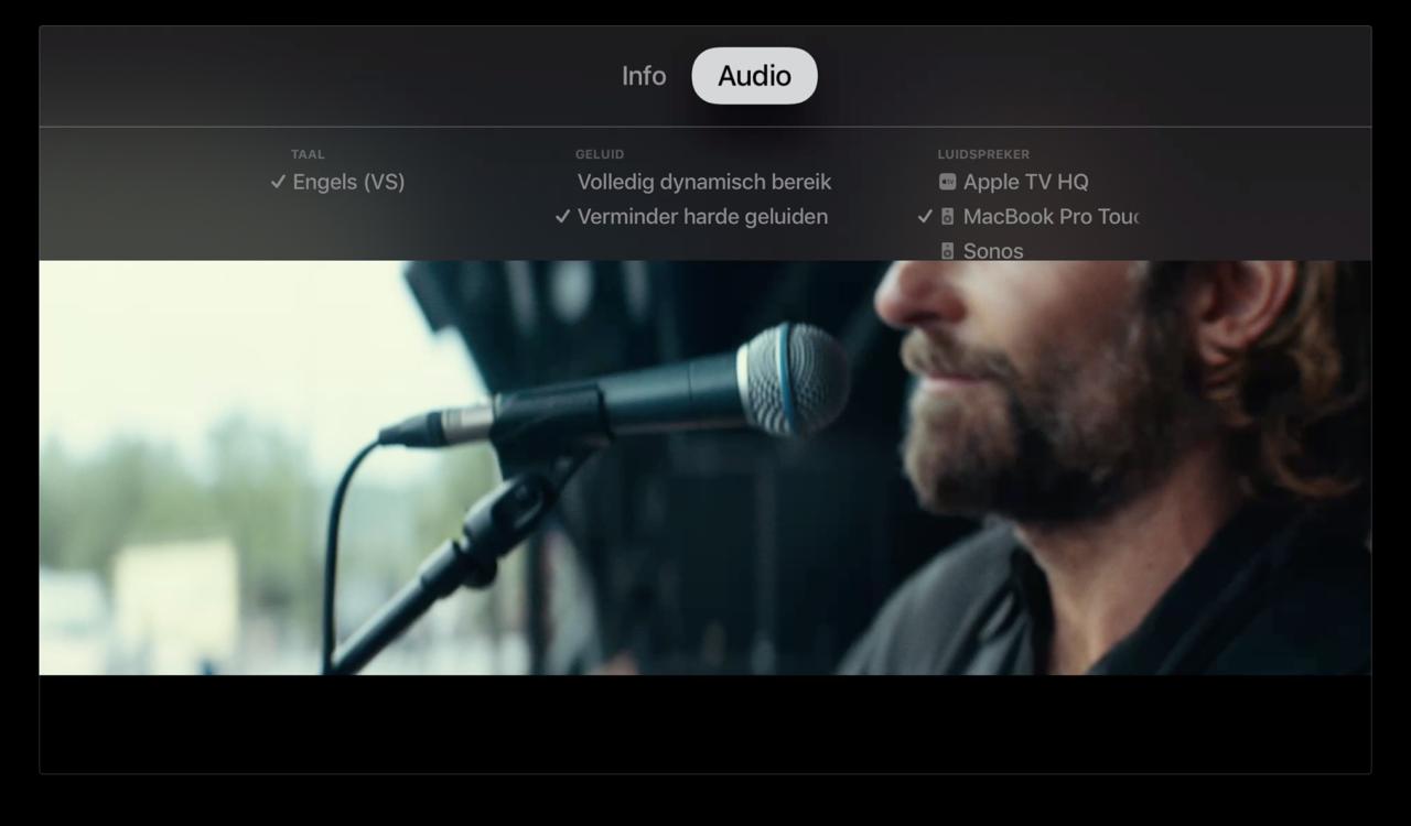 Apple TV audio uitvoer selecteren tijdens video.