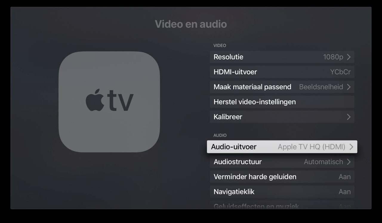 Apple TV audio uitvoer kiezen in instellingen.
