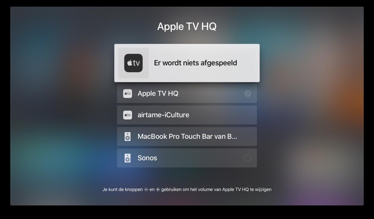 Apple TV audio uitvoer via beginscherm.