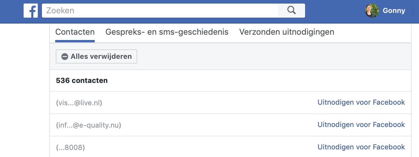 Facebook Contacten verwijderen