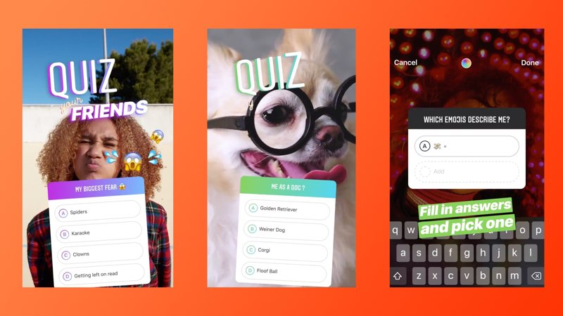 Instagram-quiz met multiple choice